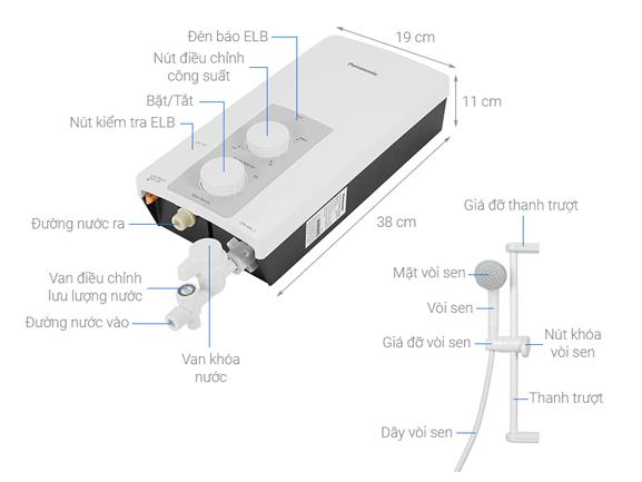 Tổng quan sản phẩm Máy nước nóng Panasonic DH-4RL1