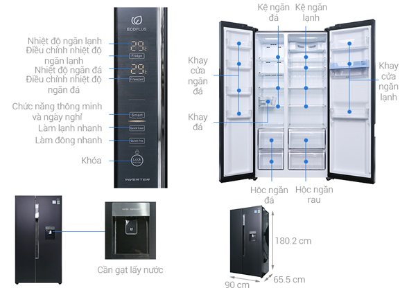 Tủ Lạnh AQUA Inverter 557 Lít AQR-I565AS(BS)