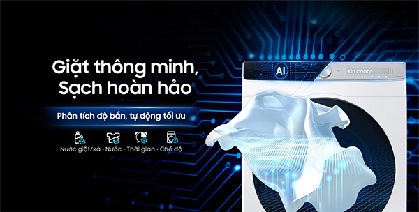 Công nghệ AI Wash có trên máy giặt Samsung